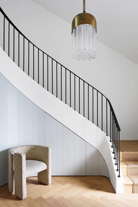 Stairs, Room, Product, Furniture, Interior design, Lighting, Architecture, Handrail, Ceiling, Floor,