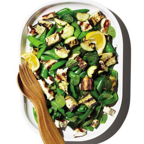 healthy zucchini recipes: haloumi, snap pea, and zucchini salad