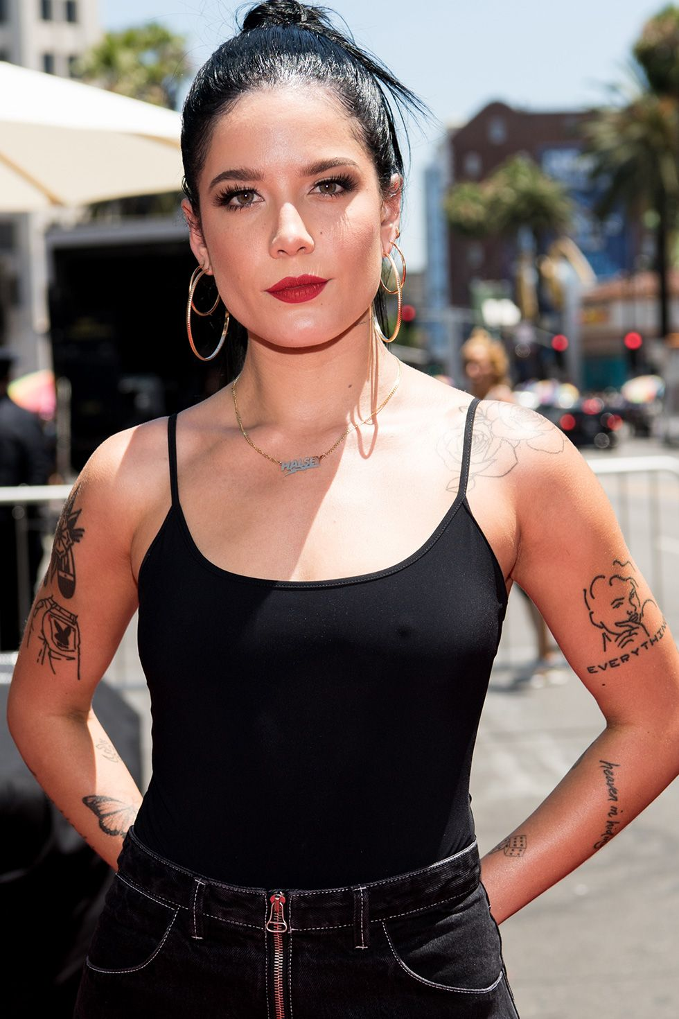 "Halsey ""I'm a young, bisexual woman, and I've spent a large part of my life trying to validate myself—to my friends, to my family, to myself—trying to prove that who I love and how I feel is not a phase; it's not part of some confusion that's going to change or could be manipulated,"" the Grammy-nominated singer said in a video for the 2018 GLAAD Media Awards where she nabbed the Outstanding Music Artist title."