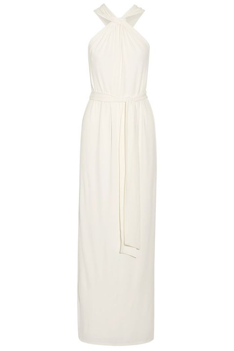 Clothing, Dress, White, Day dress, Cocktail dress, Gown, Beige, Neck, Sleeve, Formal wear,