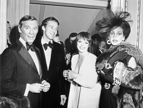 american businessman david j mahoney, american fashion designer halston, entertainer liza minelli and actress marisa berenson, during the private party given at maxims in paris for the people who will attend the fund raising grand advertisemnt a versailles for the upkeep and restoration of versailles castle to be held at the castle