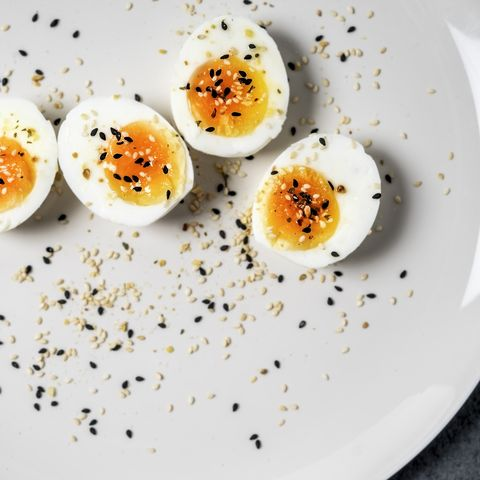 halved hard boiled eggs on a plate