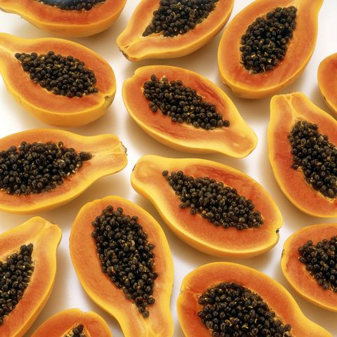 Halved papayas, close up