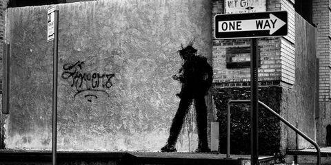 White, Black, Black-and-white, Monochrome, Standing, Snapshot, Urban area, Street, Wall, Street art,