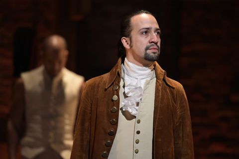 new york, ny   february 15  actor, composer lin manuel miranda is seen on stage during hamilton grammy performance for the 58th grammy awards at richard rodgers theater on february 15, 2016 in new york city  photo by theo wargowireimage