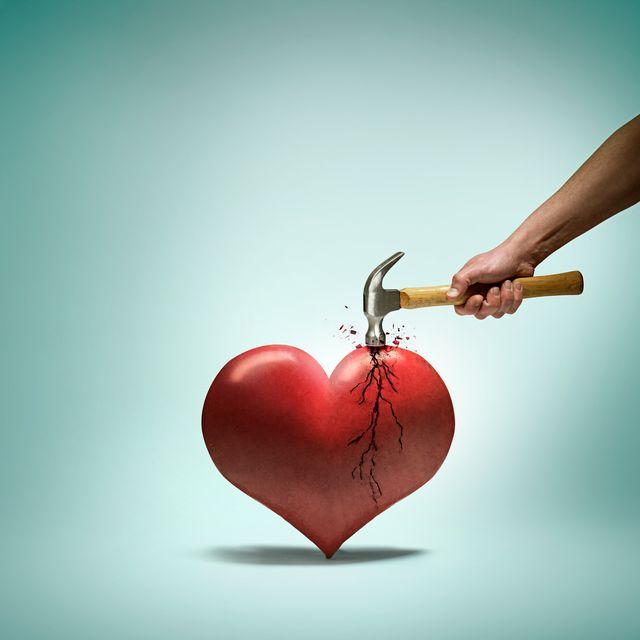 hammer breaking a heart