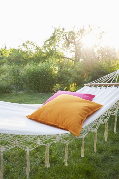Hammock with pillows in garden at sunset