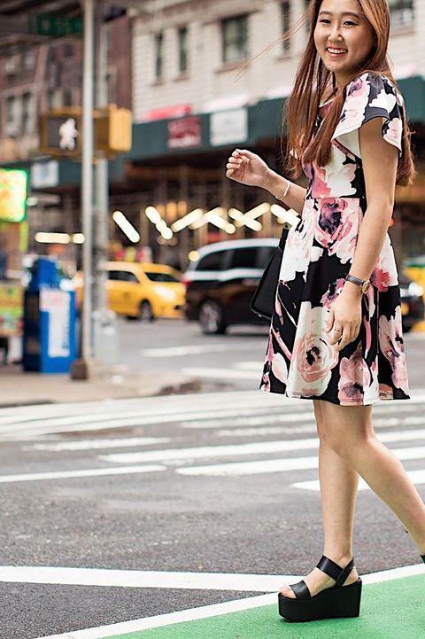 Photograph, Street fashion, Clothing, Fashion, Shoulder, Snapshot, Beauty, Street, Footwear, Pink,