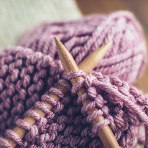 Hand knitting in progress