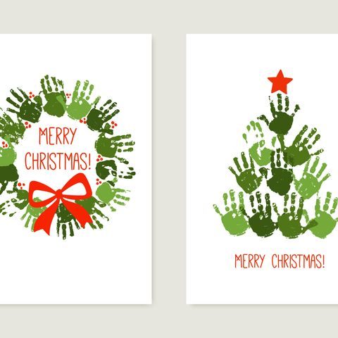 handprint christmas tree with red star handprint christmas wreath with red bow christmas hand print card set watercolor, acrylic children christmas art vector illustration isolated on white