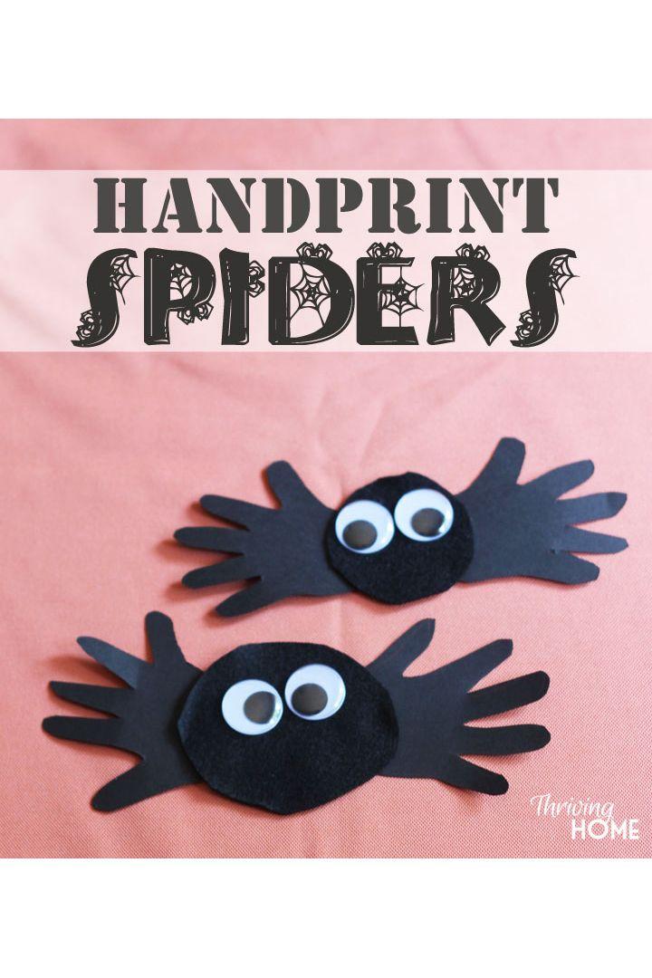 handprint spiders halloween crafts for preschoolers