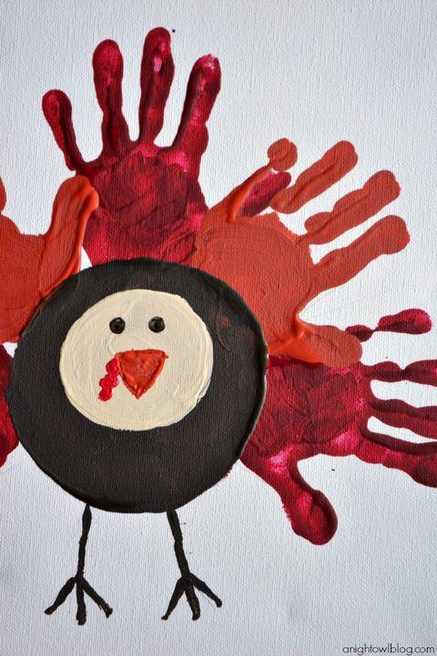 handprint turkey canvas thanksgiving crafts for kids