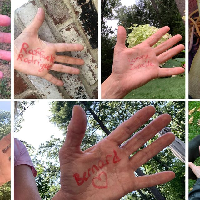 newton wellesley hospital staff write the names of covid 19 patients on their hands as they run for each person who has died from the outbreak during the pandemic