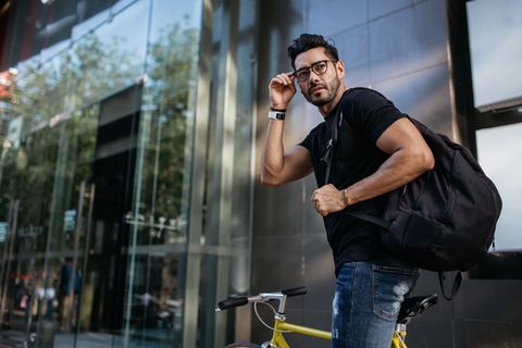 Handsome man on bicycle