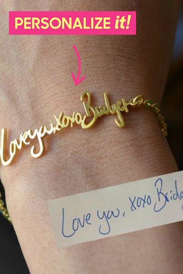 best gifts for mom 2018 - actual handwriting bracelet