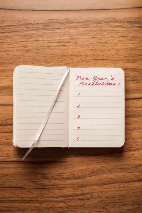 "a handwritten ""new year's resolution"" in a notepad"