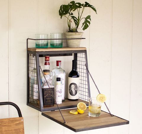 Shelf, Shelving, Furniture, Table, Yellow, Wall, Iron, Room, Tile, Wood,