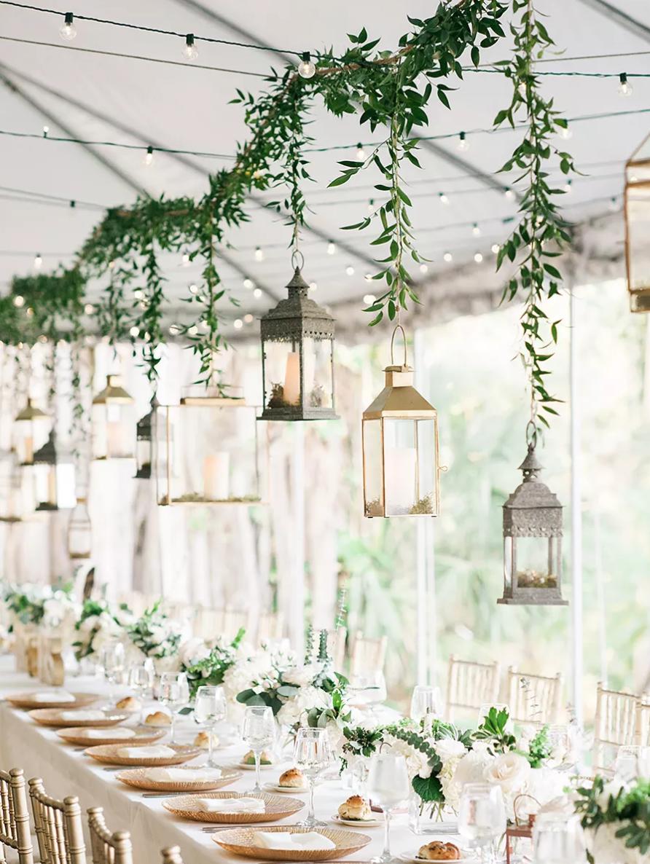 hanging lanterns rustic wedding