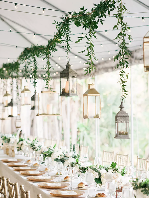hanging lanterns rustic wedding