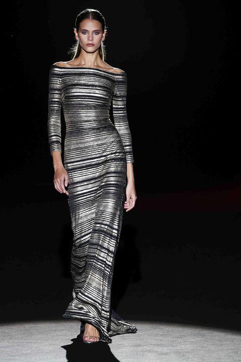 Fashion model, Fashion show, Runway, Fashion, Clothing, Shoulder, Dress, Haute couture, Neck, Fashion design,