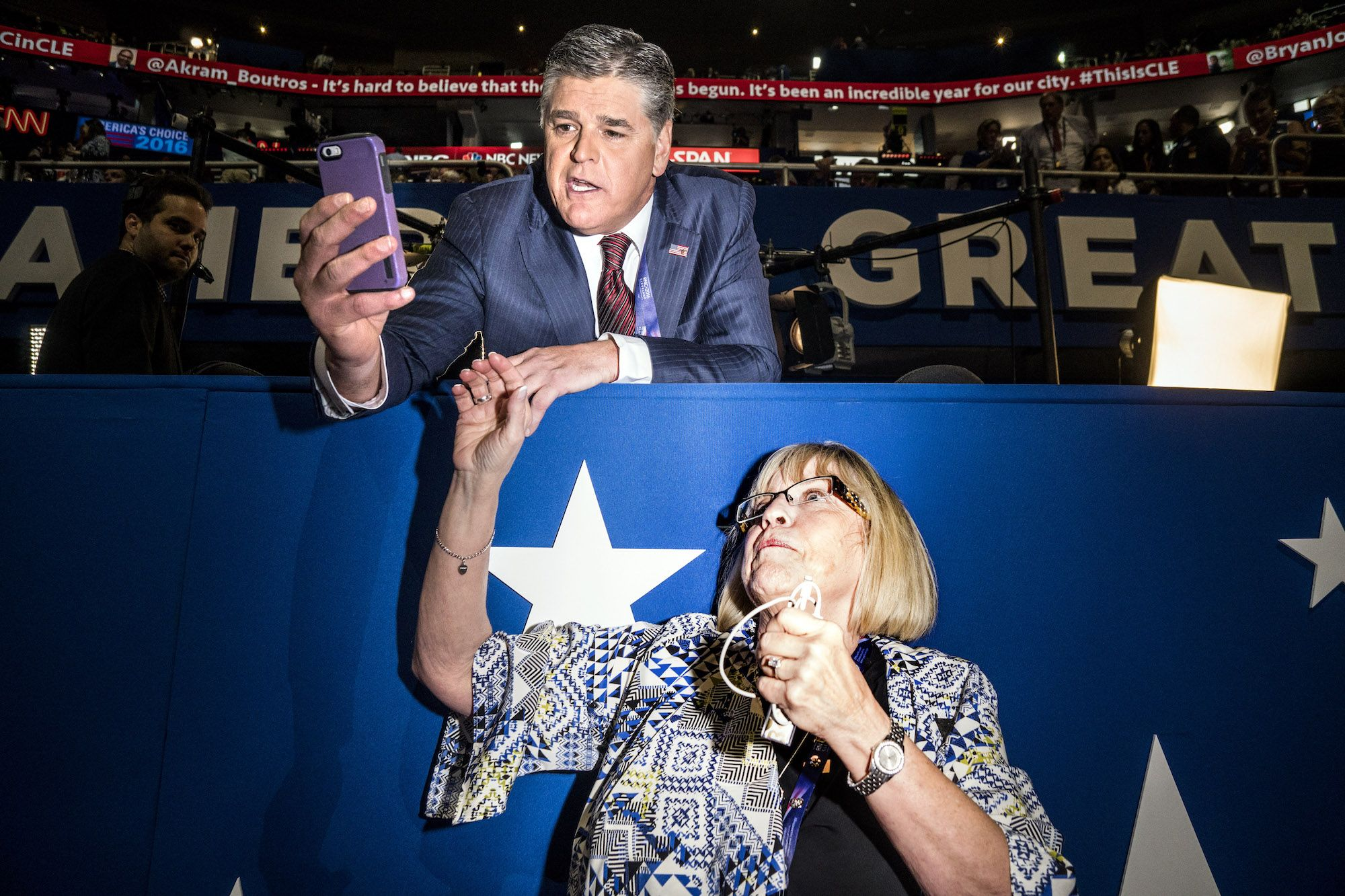 Fox News personality Sean Hannity at the Republican National Convention in Cleveland, OH, July 18, 2016.