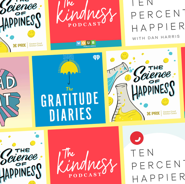 happiness podcasts graphic