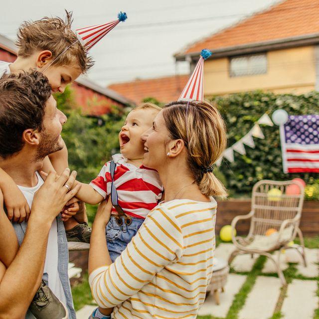 happy family celebrating fourth of july