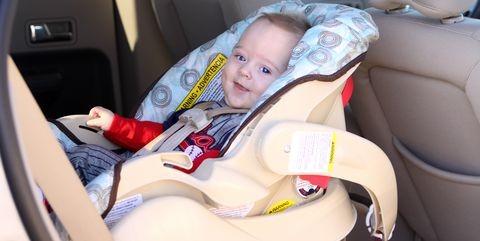 Happy Infant in Car Seat