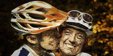 happy mountain biking couple
