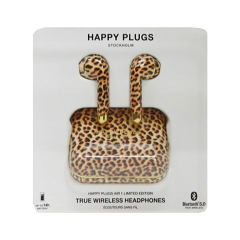 happy plugs   truly wireless limited edition air 1   oortelefoons met luipaardprint