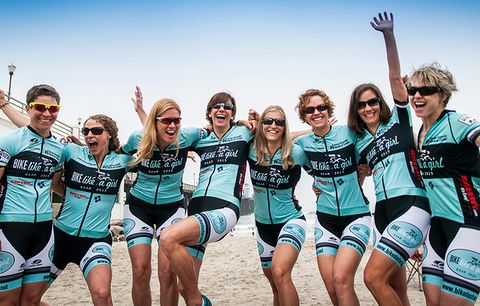 happy women cyclists