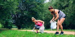 Two girls doing plogging