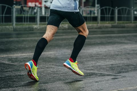 young athlete runs a marathon