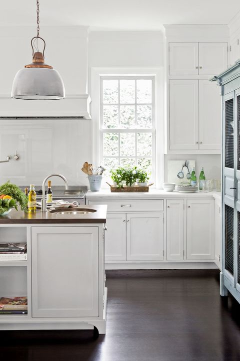 White, Countertop, Kitchen, Room, Furniture, Cabinetry, Floor, Property, Interior design, Lighting,