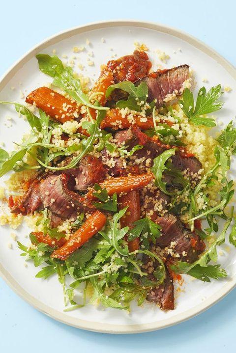 harissa sirloin with couscous salad