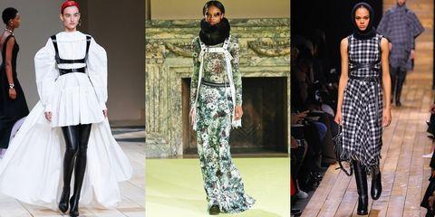 Fashion model, Clothing, Fashion, Runway, Dress, Haute couture, Fashion design, Street fashion, Style, Black-and-white,