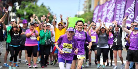 Clothing, Footwear, People, Athletic shoe, Pink, Purple, Shorts, Street, Athlete, Running,