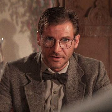 fb188d17df36 Harris Tweed blazer and bowtie with safari shirt and round frame glasses in Indiana  Jones and the Temple of Doom.