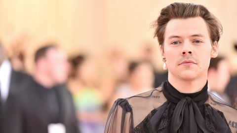 new york, new york   may 06 harry styles attends the 2019 met gala celebrating camp notes on fashion at metropolitan museum of art on may 06, 2019 in new york city photo by theo wargowireimage