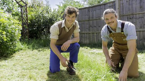 Harry and David Rich in garden