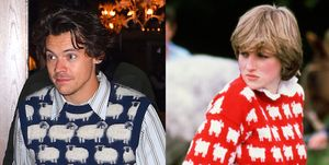 Diana, Princess of Wales wears a wool jumper decorated with
