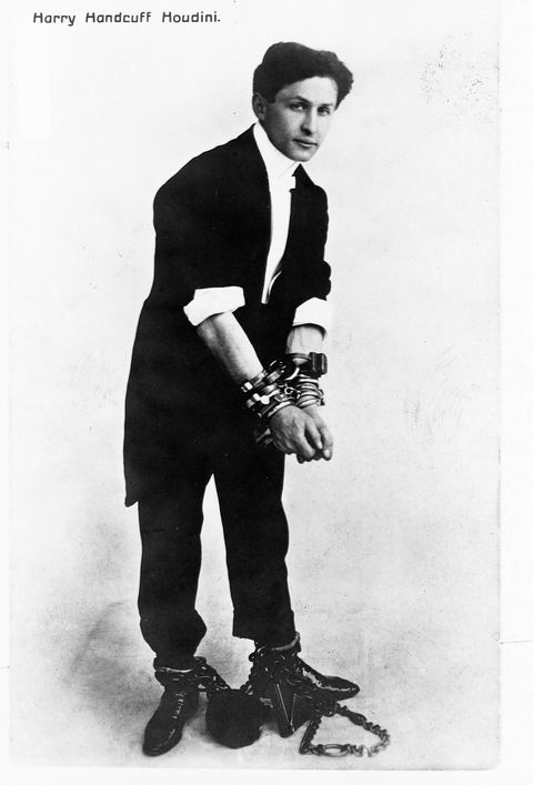 postcard of harry houdini in handcuffs and leg irons   photo by library of congresscorbisvcg via getty images