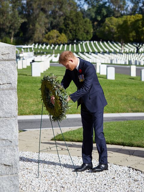 meghan markle and prince harry during remembrance sunday in los angeles, paying respects at a cemetery