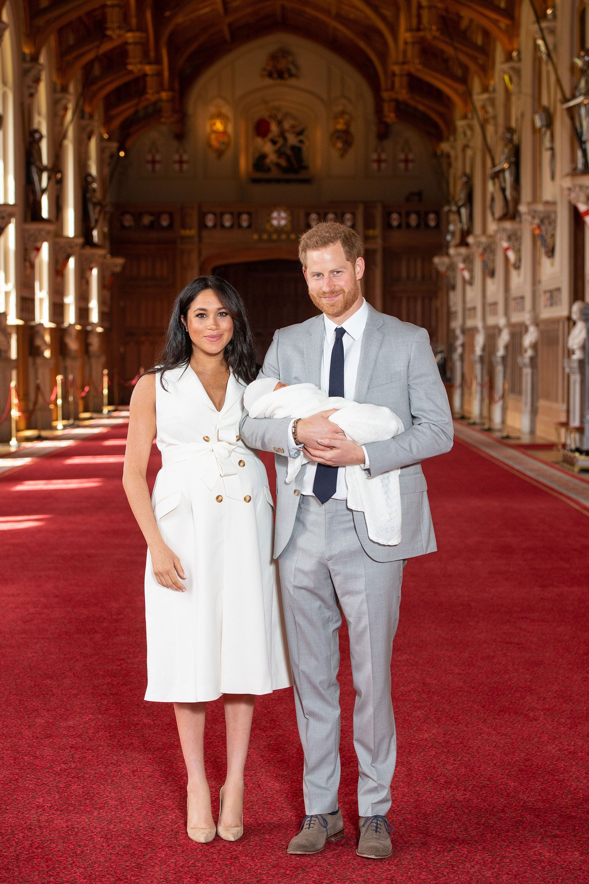 The Duchess of Sussex wears a white dress for her first post-baby appearance