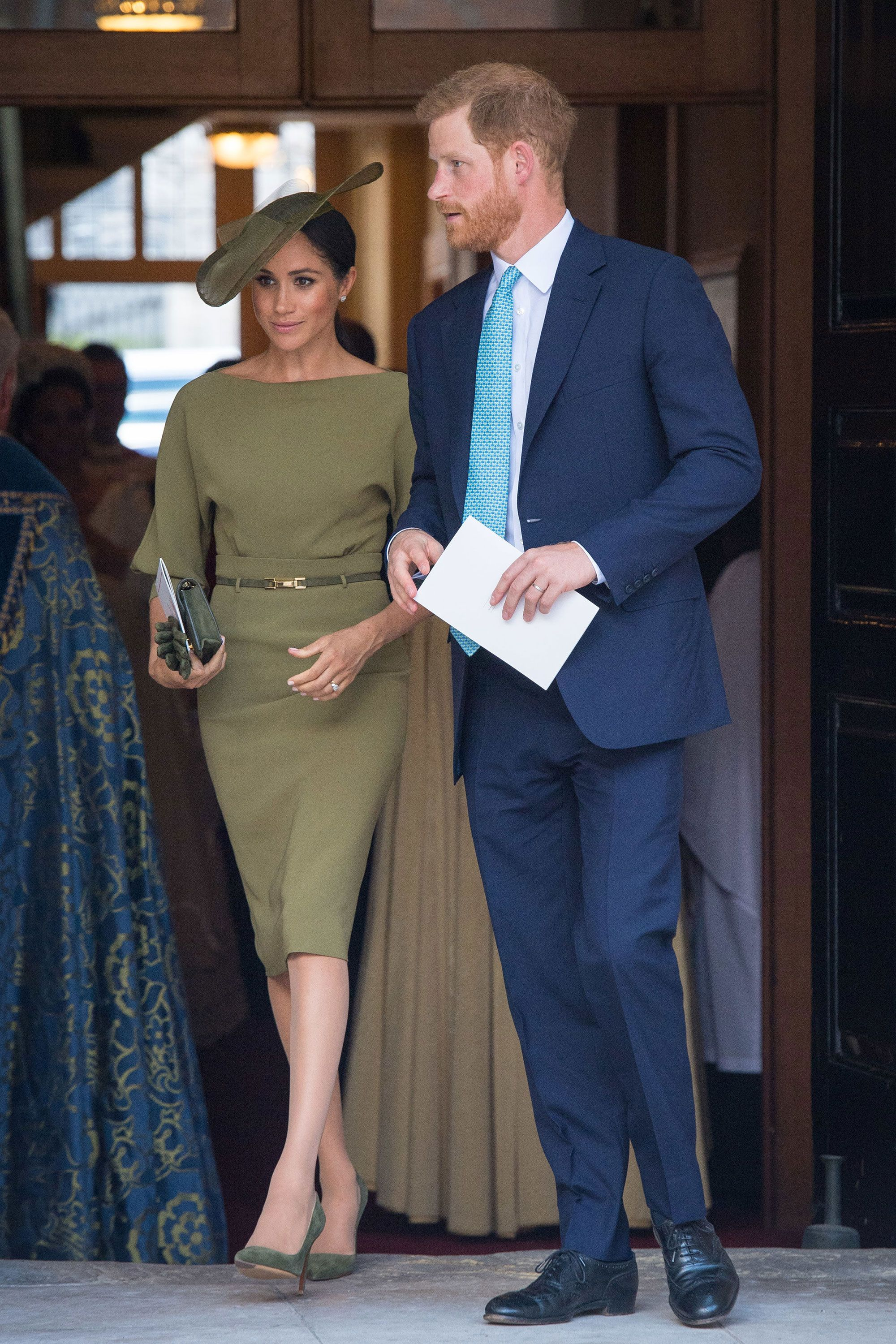 The Duchess Of Sussex Wore Khaki Green Dress To Prince Louis