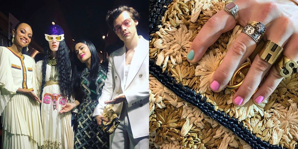 Harry Styles Wears Pastel Nail Polish to the Gucci Cruise 2020 Show