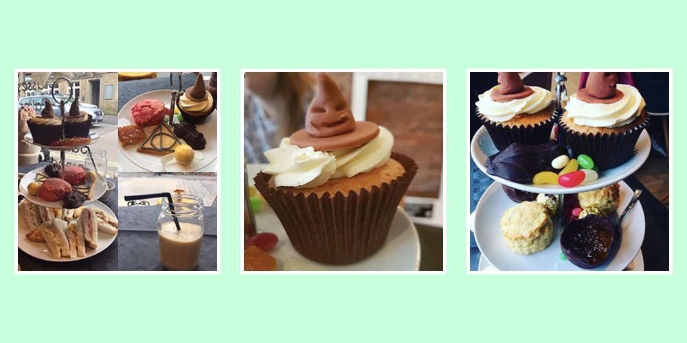 This Harry Potter afternoon tea features Sorting Hat cupcakes