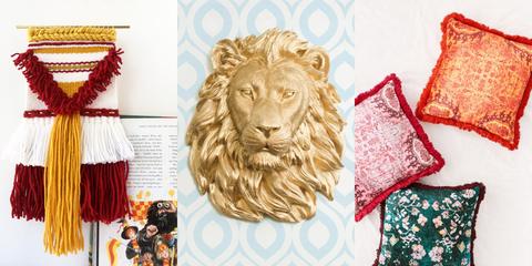 Lion, Felidae, Room, Art, Illustration, Font, Textile, Big cats, Carnivore, Pattern,