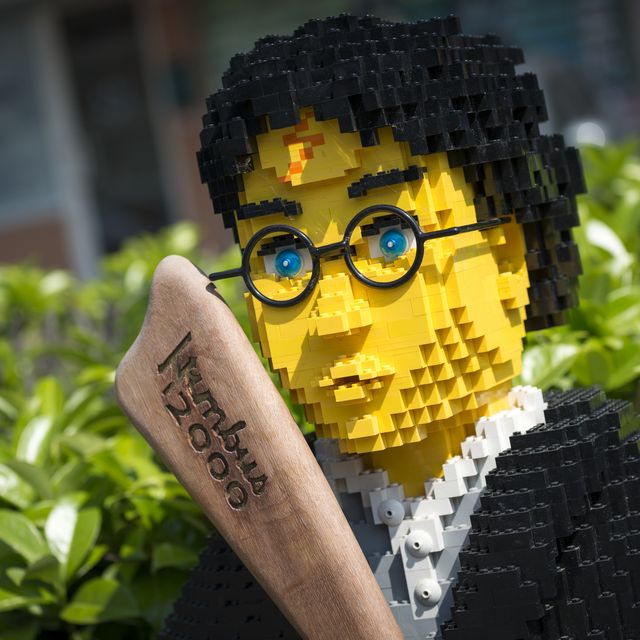 Harry Potter made of Lego bricks outside toy store