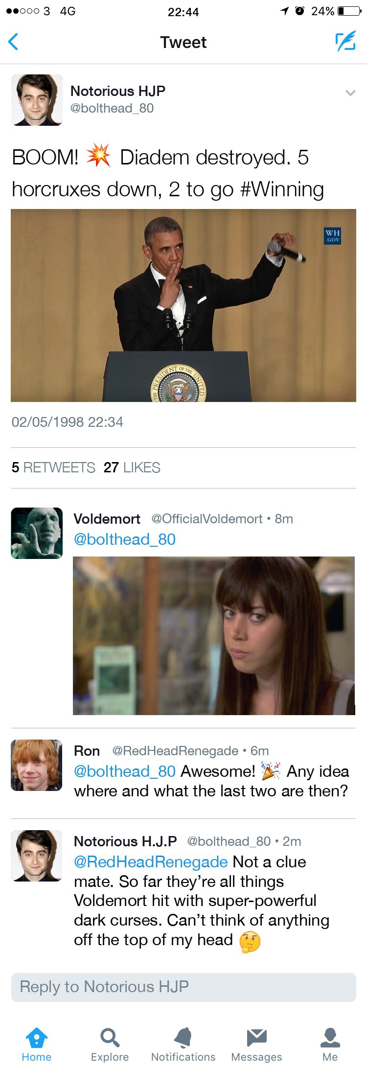 If the Harry Potter characters had social media